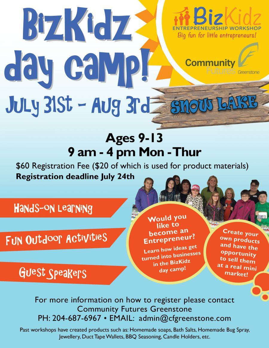 BizKidz Snow Lake  Day Camp: July 31-Aug 3