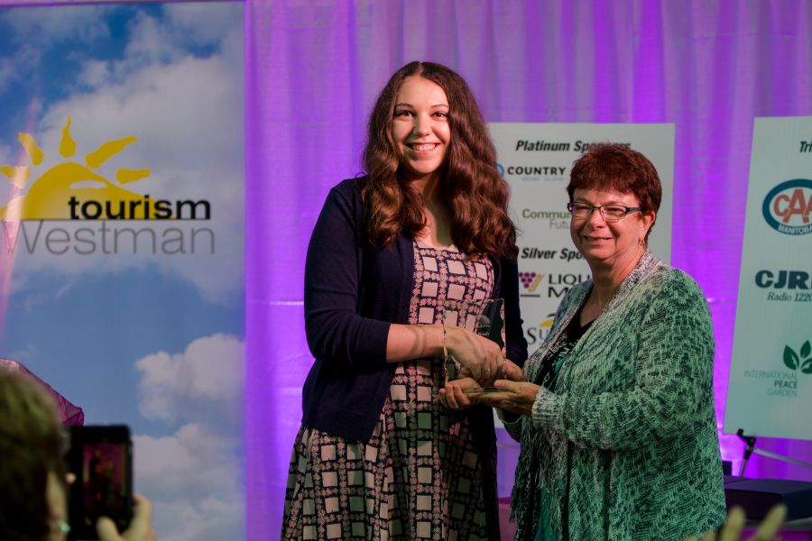 Aspiring Youth award winner Jane Harkness of Virden with Community Futures board member Debbie Eastcott